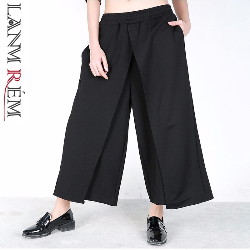 LANMREM 2019 Spring New Fashion Fake Two Pieces Patchwork Trousers Casual Elastic Waist Female's Black   Wide     Leg     Pants   YF83101