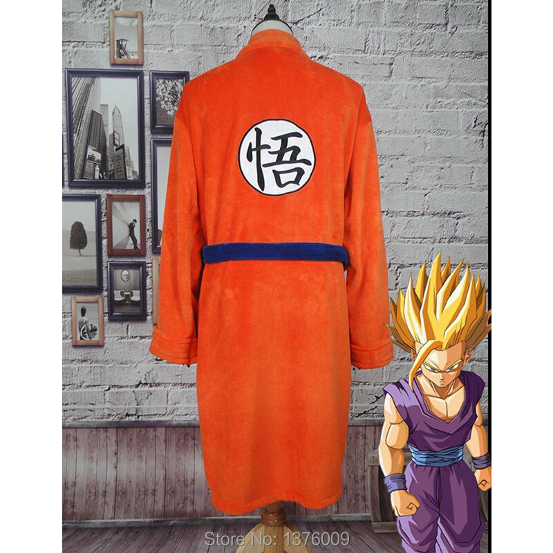 Japan Anime Dragon Ball Flannel Bathrobe Men Women Kimono Cosplay Goku Bath Robe Soft Anime Costume Dressing Gown