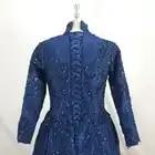 Donne Formale Collo Alto Lace Up Maniche Lunghe Navy Blu Abiti Da Sera - 3