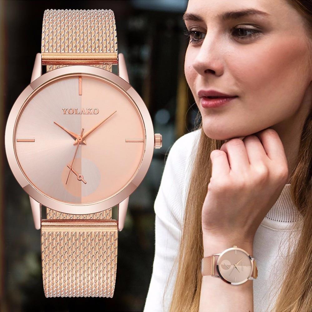 Hot Fashion Women Quartz Watch Luxury Plastic Leather Analog Wrist Watches Female Clock YOLAKO Brand Relogio Feminino