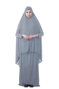 المرأة الإسلامية 2 PCS الصلاة اللباس الأهرام ماكسي الحجاب خيمار جلباب مسلم عباية الصلاة العبادة خدمة غطاء كامل رمضان 2