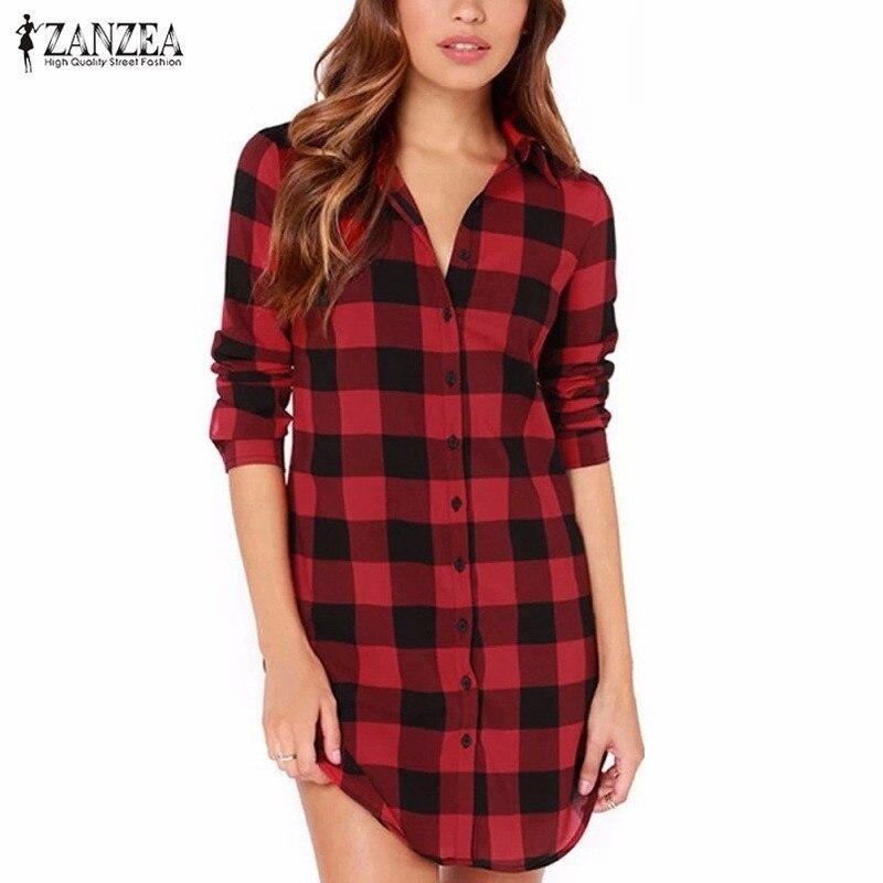 Zanzea 2019 femmes chemisiers à carreaux chemises col rabattu simple boutonnage Long hauts décontracté lâche chemises Blusas grande taille S-6XL