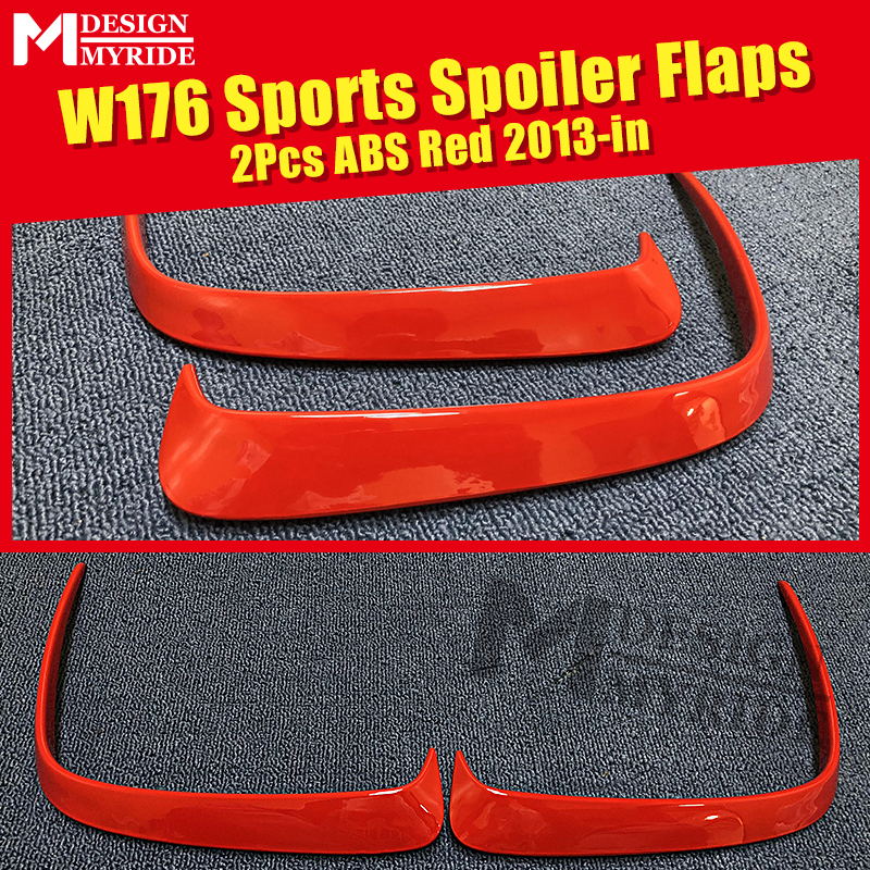 2 Pcs ABS Red Rear Bumper Canard Vent Rafts Splitter Fit For <font><b>Mercedes</b></font> <font><b>Benz</b></font> <font><b>W176</b></font> A180 <font><b>A200</b></font> A250 A45 Rear Bumper Splitters 2013-in image