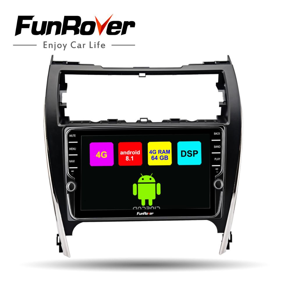 Funrover 2din car dvd multimedia player android 8.1 gps for Toyota Camry 2012-2014 USA&Mid-East Vers car radio stereo navigation