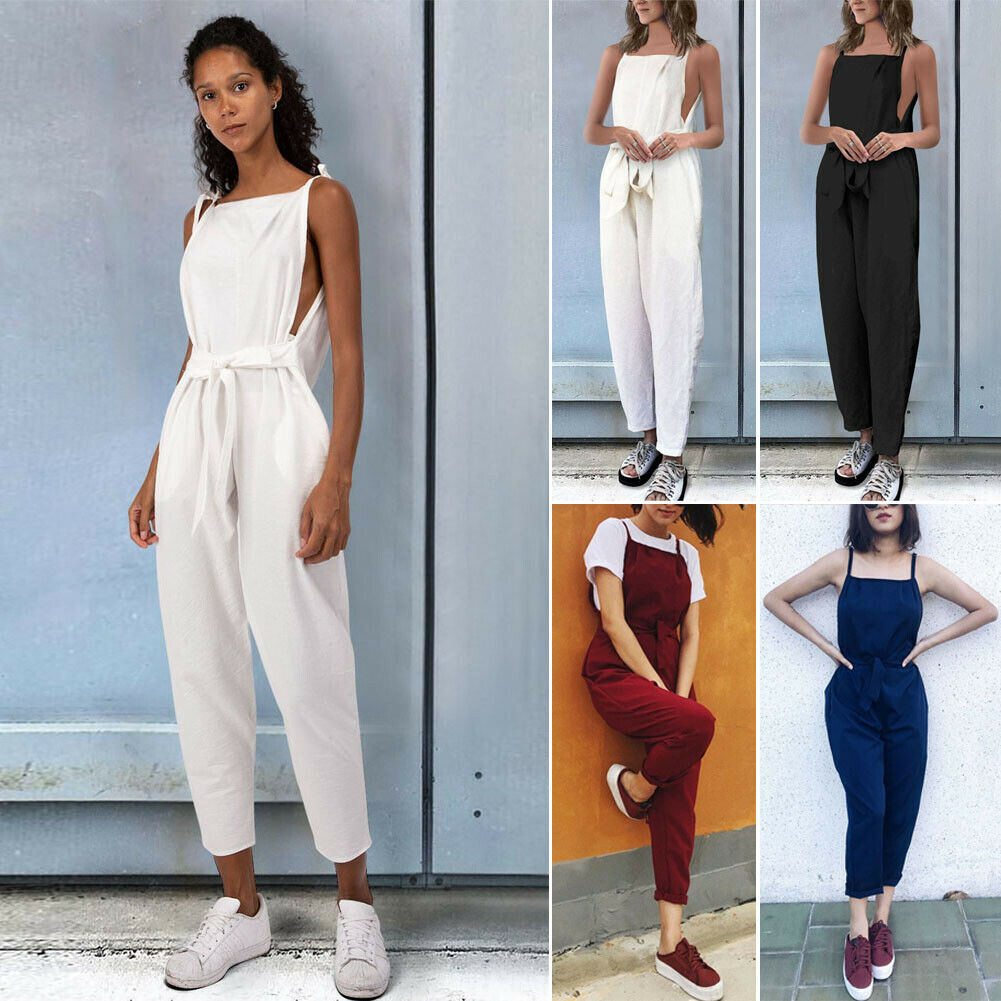 2019 New Arrival Solid Sleeveless  Women's Summer Jumpsuit Ladies Evening Party Playsuit Romper Long  Trousers Plus Size M-3XL