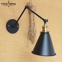 Loft Style Retro Brass Wall Lamp Vintage Brass Swing Long Arm Wall Light LED Edison Lighting Wandlampen Apliques Pared Aplike