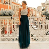 New Arrival Elegant A Line One Shoulder Tulle Dresses Robe Femme Sexy Backless Sequined Party Dress For Ladies Long Maxi Dress