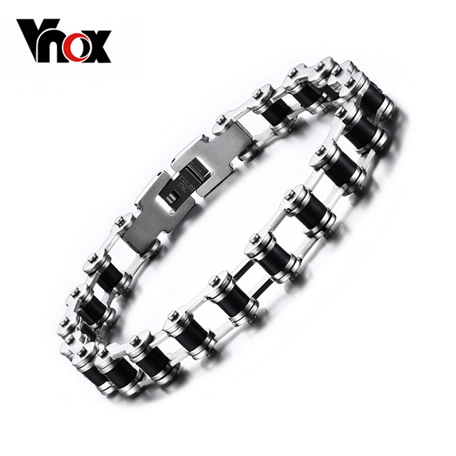 Vnox Promotion Men's Bracelets & Bangles Charm Bicycle Chain Stainless Steel Jewelry With Black Silicone For Male