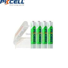4Pcs Pkcell Aaa 600Mah 1.2V Ni Mh Batterij Oplaadbare Batterijen Aaa 3a Lage Zelfontlading Accu En 1pc Aa/Aaa Batterij Box