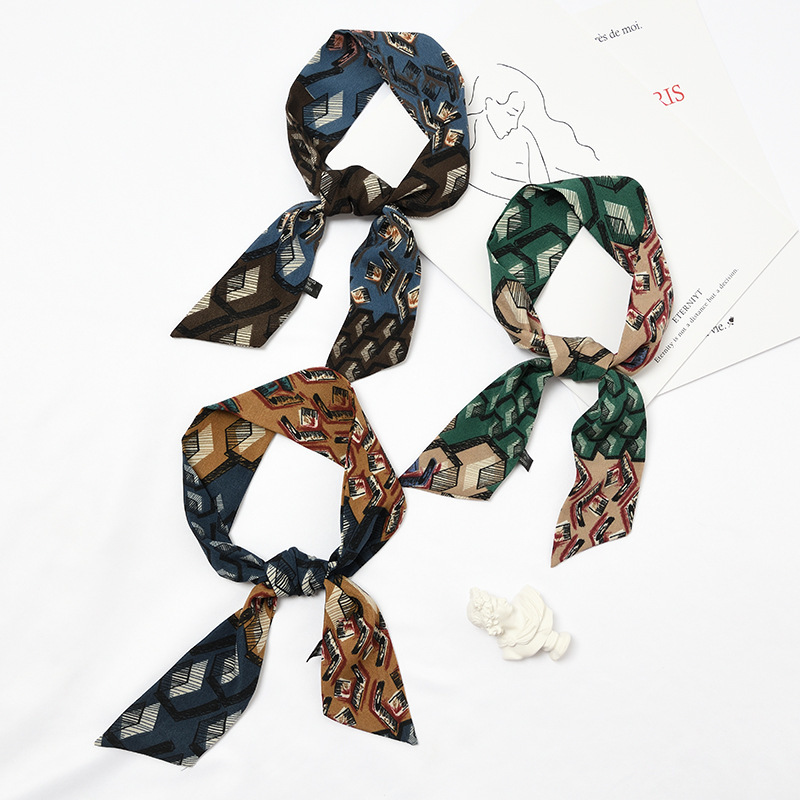 Leopard Print Short Ribbon Korea Chic Decoration Small Chiffon Hijab Scarves Leisure Time Wrap Handle Scarf Women Bandana Mujer in Women 39 s Scarves from Apparel Accessories
