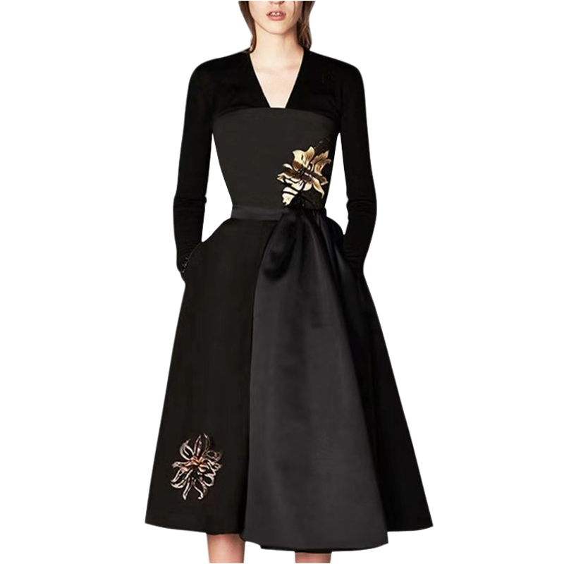 gold flower embroidery black fall dress women gowns long dress v neck long sleeve mid calf