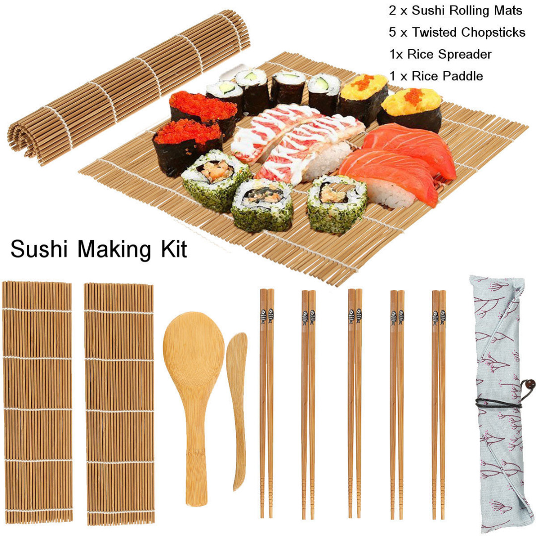 Us 7 08 5 Off Jx Lclyl 9pcs Set Rolling Mats Rice Spreader Paddle Chopsticks Bamboo Sushi Making Kit In Sushi Tools From Home Garden On