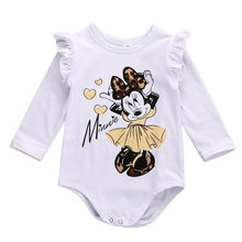 Newborn Baby Girl Minnie Mouse Romper Jumpsuit Long Sleeve Baby