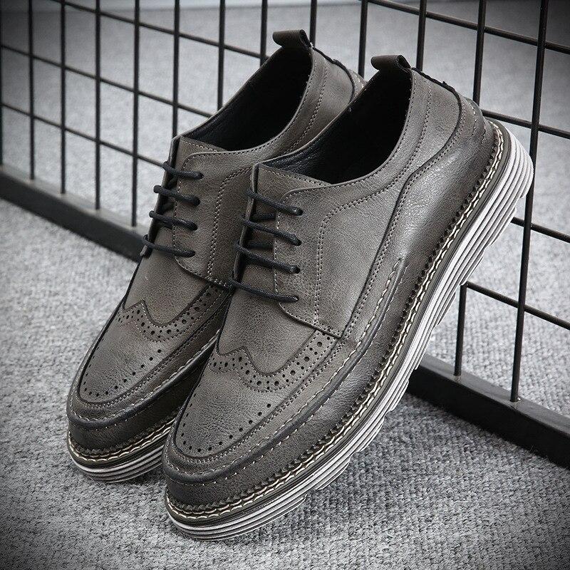 Cuir Plat gray Chaussures Faible Dentelle Zapatillas up Hombre Pour brown Respirant Automne En Casual Black D'affaires Printemps Hommes wB0xPqxa