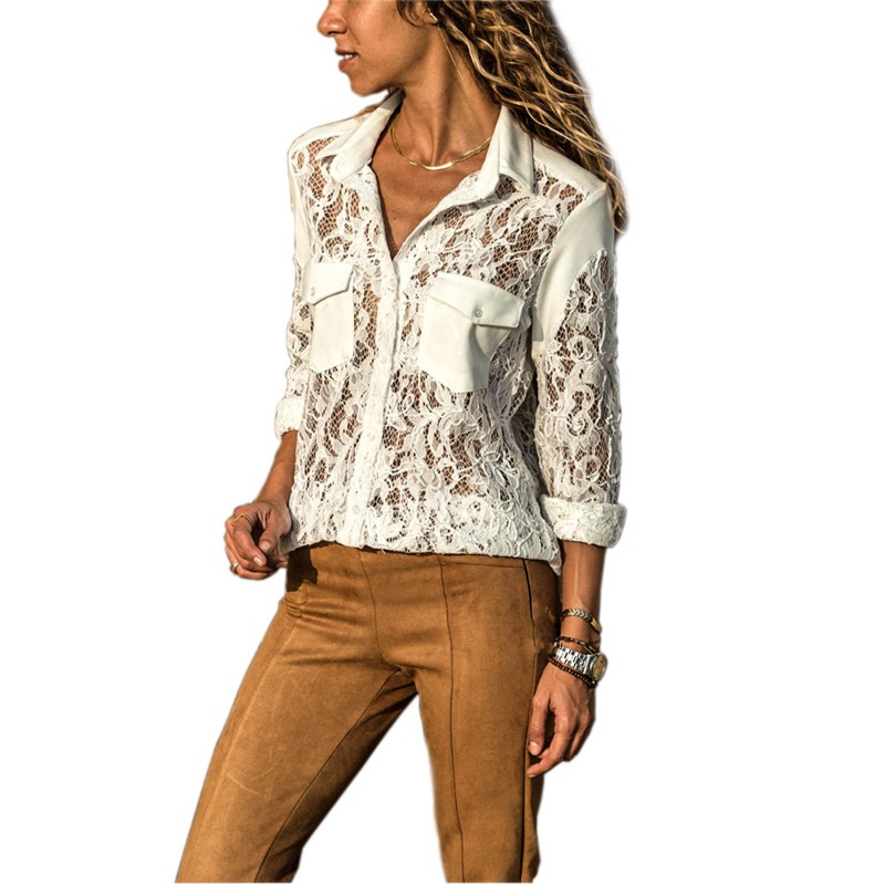 Women   Shirts   Autumn Sexy Club Turn-down Collar   Blouse   Women Pocket Lace Top Camisa Feminina Long Sleeve Ladies   Blouse     Shirt