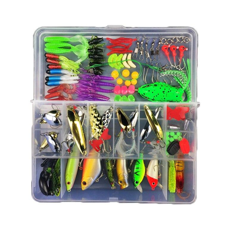 Bobing multifuncion 106 piezas señuelo establece todo profundidad mezclados cebos señuelos duro falso cebo Artificial con caja accesorios de pesca