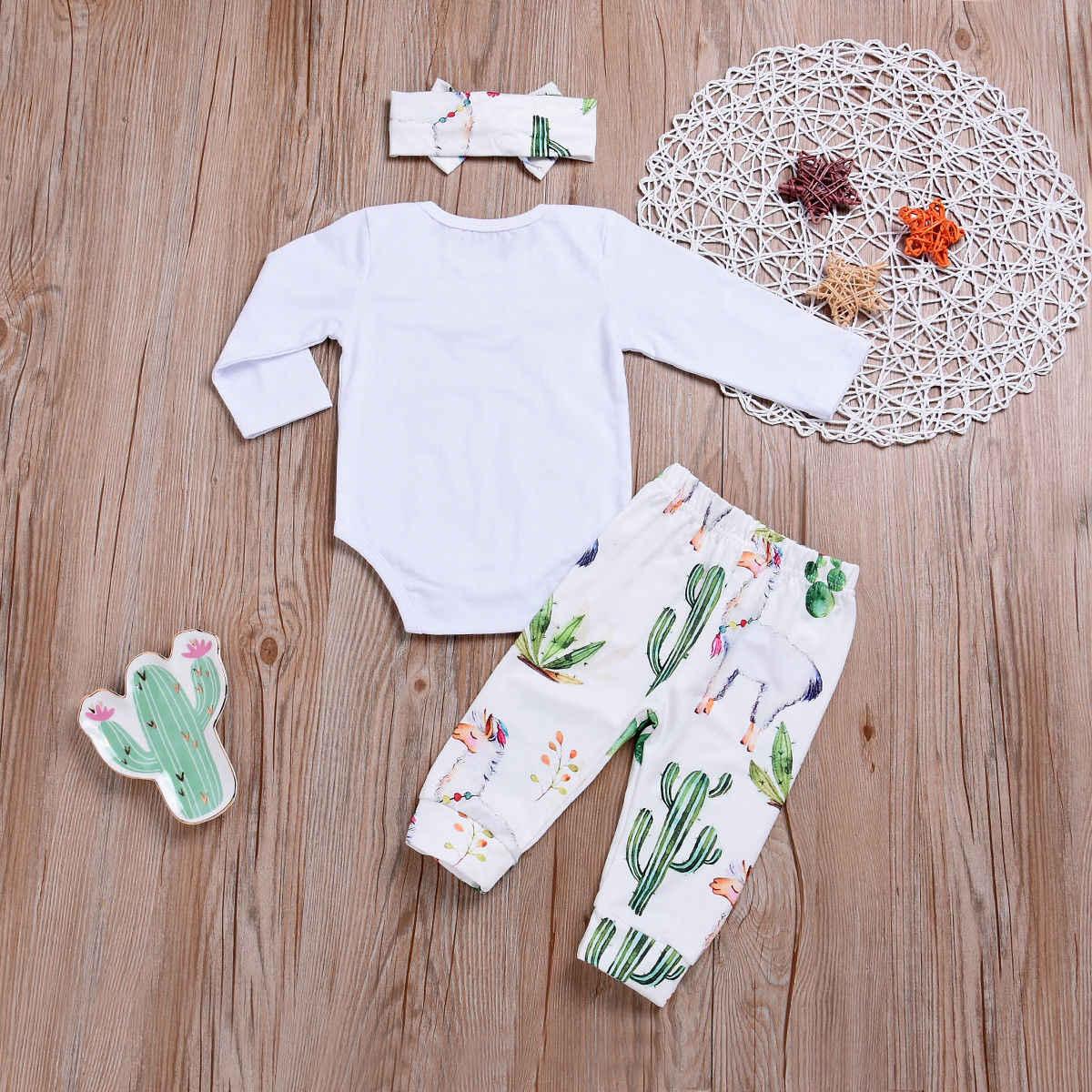 Pasgeboren Baby Meisjes Alpaca Print Lange Mouwen Tops Romper Cactus Broek Leggings Hoofdband Outfit Set Kleren