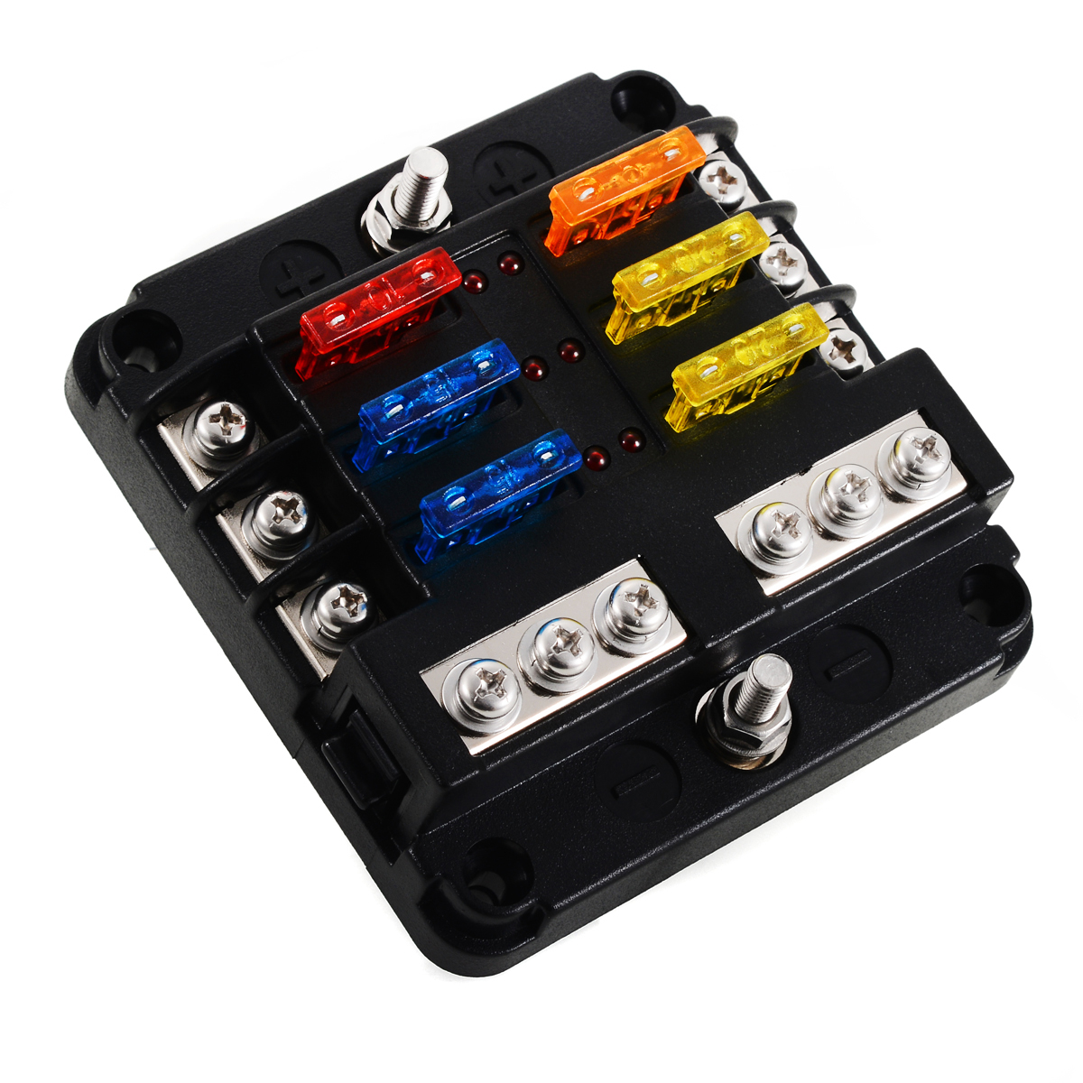 6 way blade fuse holder box block case 12v 24v car truck marine bus rv van mayitr for car boat marine caravan truck [ 1200 x 1200 Pixel ]