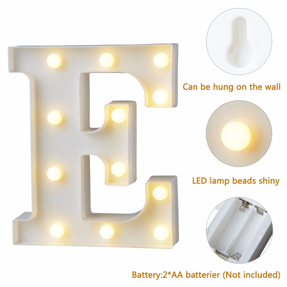 Luminaria Fun White Plastic LED Letters Number Decoration Night Light Marquee Sign Alphabet Lights Lamp Home Club Outdoor Indoor