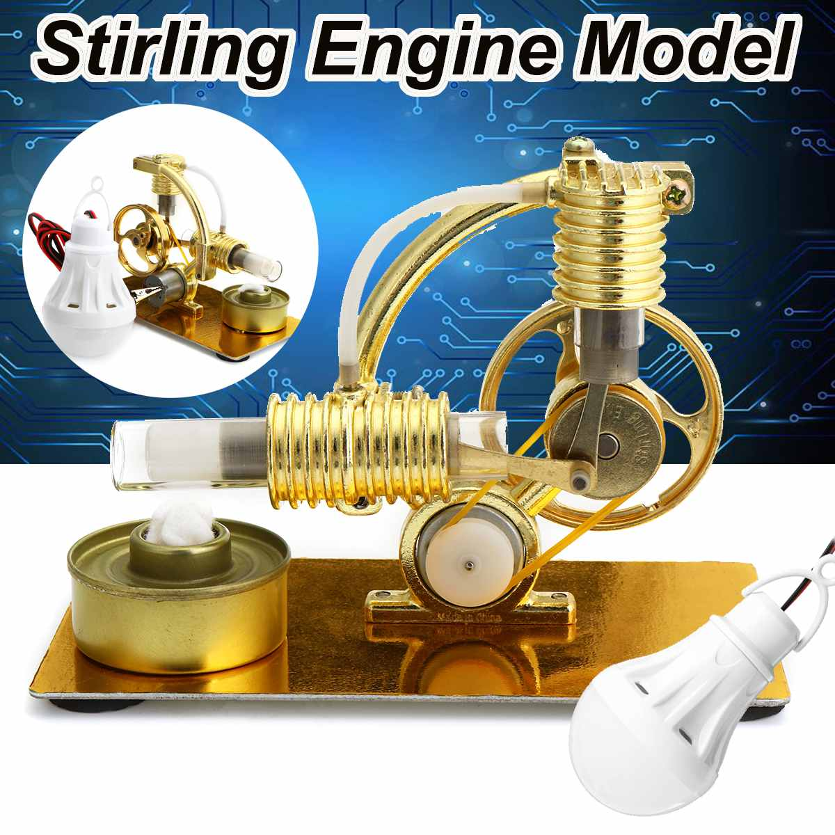 DIY Mini Air Stirling Engine Motor Model Educational Steam Power Toy Electricity Learning Model Toys for