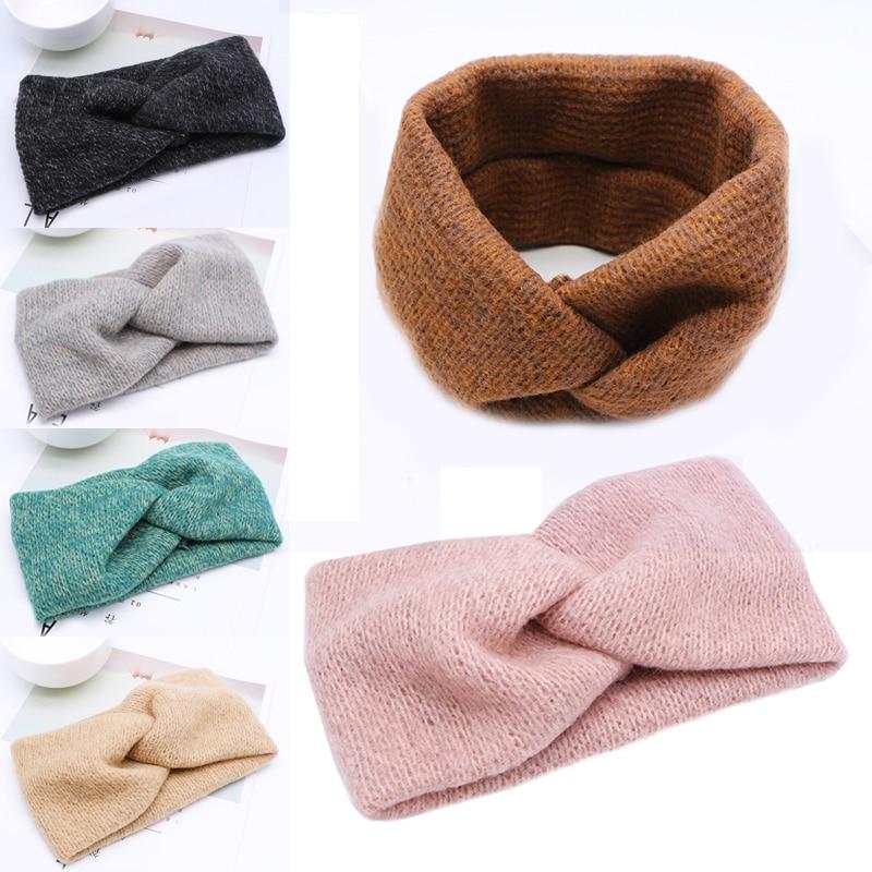 2019 New Arrival Woolen New Arrival 1PC Cross Headband Exquesite Adjustable Warm Wedding Elastic Hot Sale Women Weaving 6 Colors