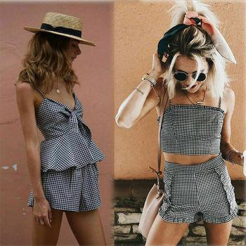 c228790933e9 2019 новые женские модные клетчатые комплекты из двух предметов Комбинезон  Топ + ...