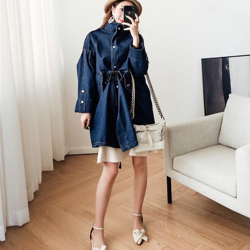 Collar Blue Poitrine Automne Black 2018 Denim Nouvelles navy Unique Mode Femmes Vêtements Et Veste Turn De Ajuster Cordon down D'hiver Taille v44xwRqA