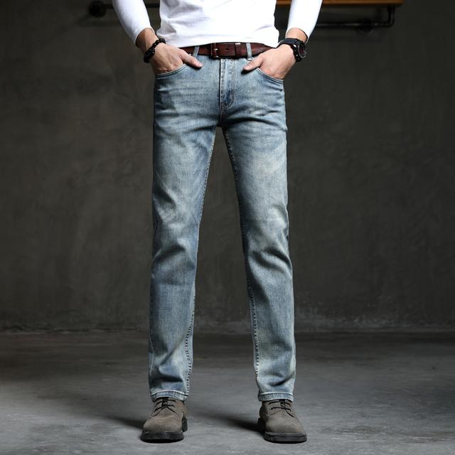 Cowboy Vintage Bule Men Jeans New Arrival 2019 Fashion Stretch Classic Denim Pants Male Designer Straight Fit Trouser Size 38 40