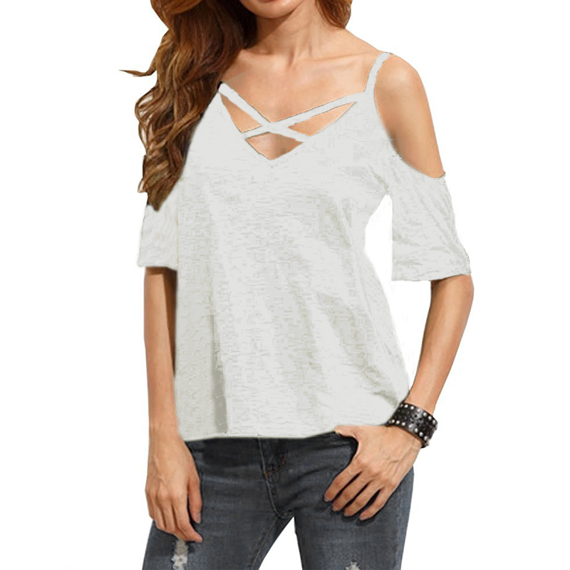 ZANZEA Sexy Off Shoulder   Blouse     Shirt   Casual Loose Short Flare Sleeve Solid V Neck Tees Tops Summer Hollow Out Blusas Femininas