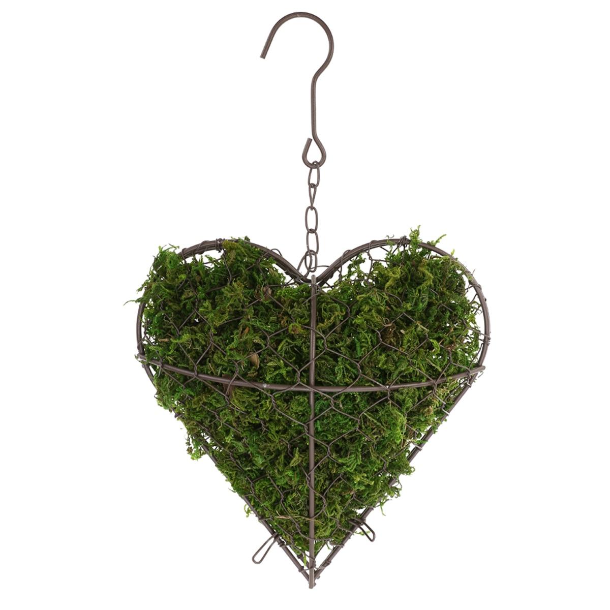 1pcs Metal Heart Shape Hanging Plant Basket Succulent Flower Pot Home Decoration Garden  Mayitr