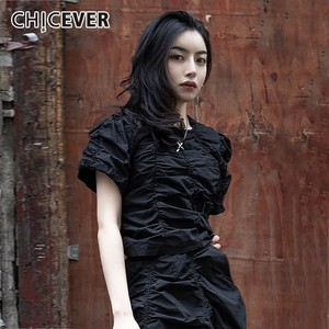 Image 1 - CHICEVER Summer Vintage Irregular Draped Solid Women T shirt O Neck Short Sleeve Loose Slim Female Top Clothing 2020 Korean New