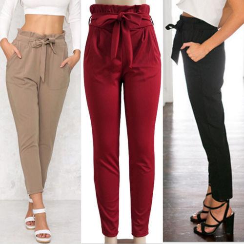 Women Cotton Blend Harem Pants Elastic High Waist Cropped Length OL Trousers Solid