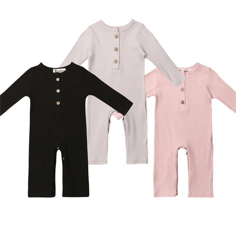 Newborn Full Sleeve Romper Solid Long Pant Jumpsuits Spring Outwear Cotton Outfits Baby girl Boy Clothes