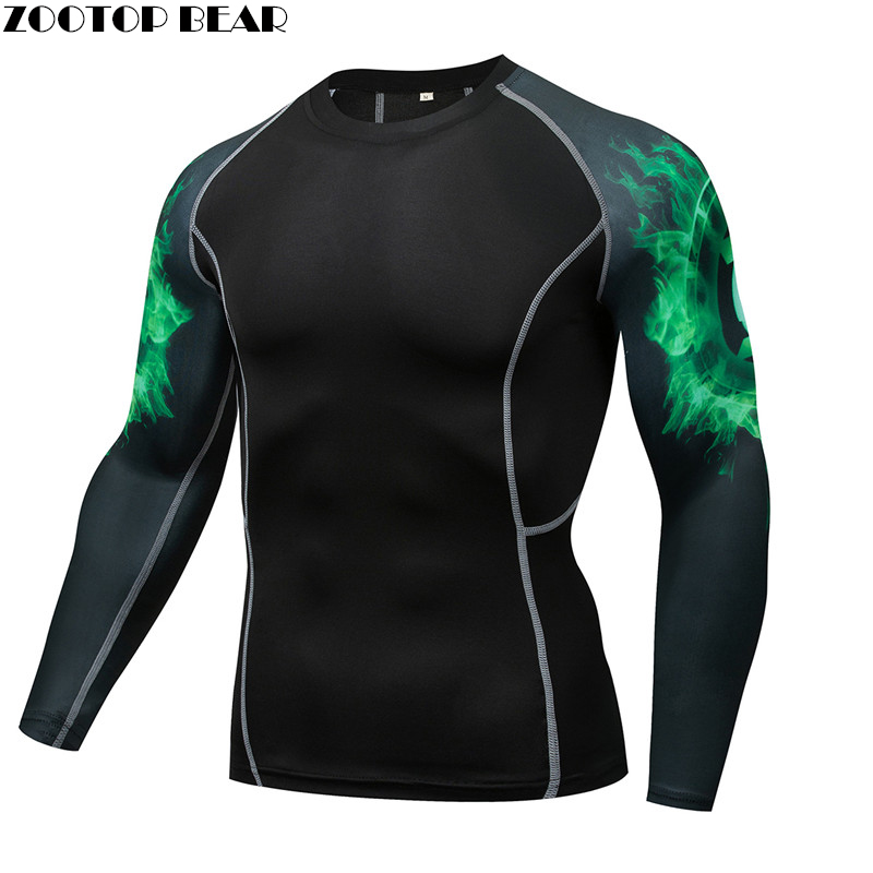 Cool Flare Mma Compression Men Shirt Quick Dry Elastic Base Layer Skin Tight Weight Lifting Crossfit Top Tee Rash Guard Fitness