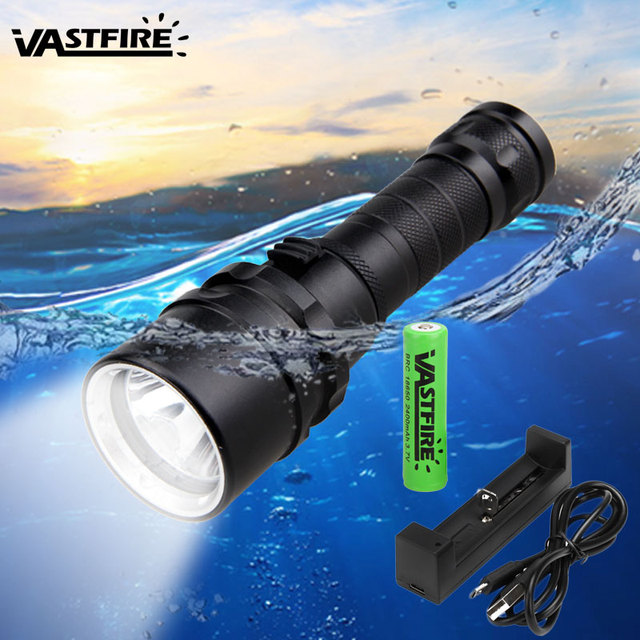 2500LM XM L T6 Diving Scuba Flashlight Underwater 100M Waterproof Portable Rechargeable diver Lantern Torch+18650+USB Charger