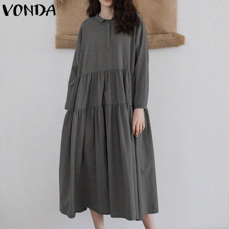 042381004a VONDA Plus Size Women Pregnant Ruffle Shirt Dress 2018 Autumn Casual Loose  Buttons Down Pleated Retro