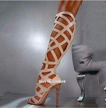 Европейская уличная мода; Женские сандалии гладиаторы до колена