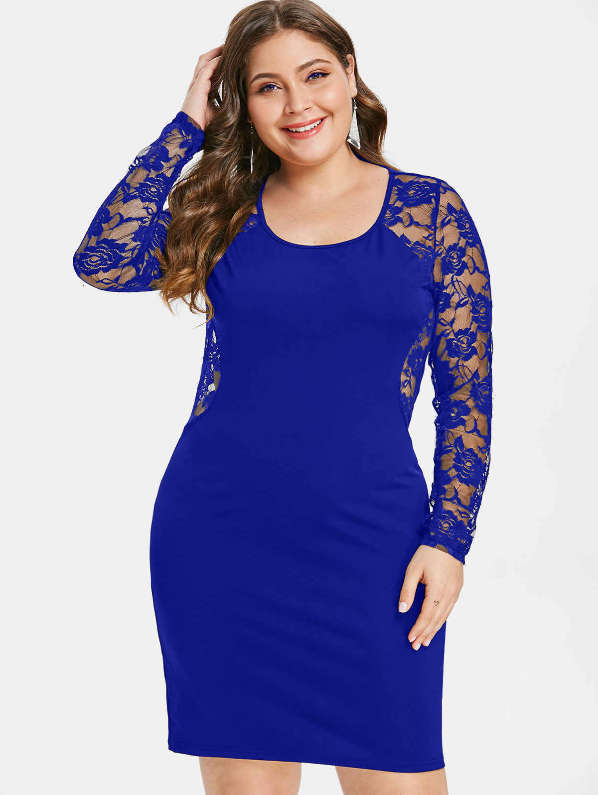 d9b91ceee6fe6 Wipalo Plus Size 5XL Sheer Floral Lace Insert Bodycon Dress O Neck Long  Sleeve See Through