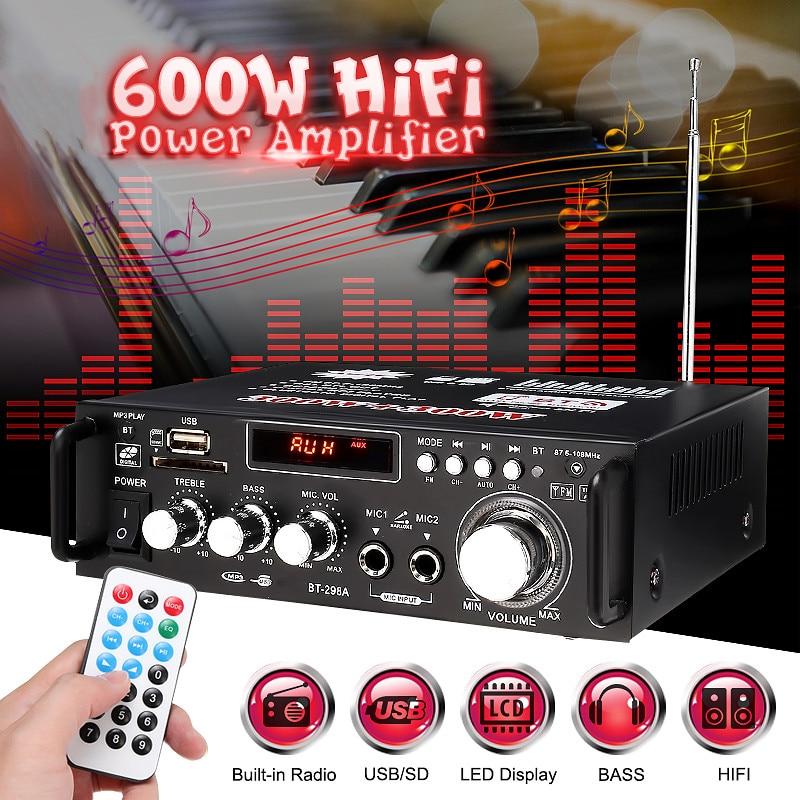 600 w casa amplificadores de Audio Bluetooth amplificador Subwoofer amplificador de sistema de cine en casa de sonido Mini amplificador profesional