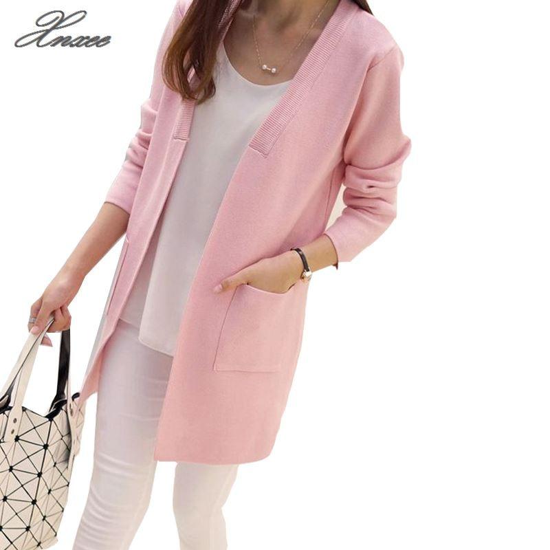 New Women Spring/ Autumn  Sweater 2017 Long Cardigan Korean Slim Pocket Loose Knit Outwear Coat