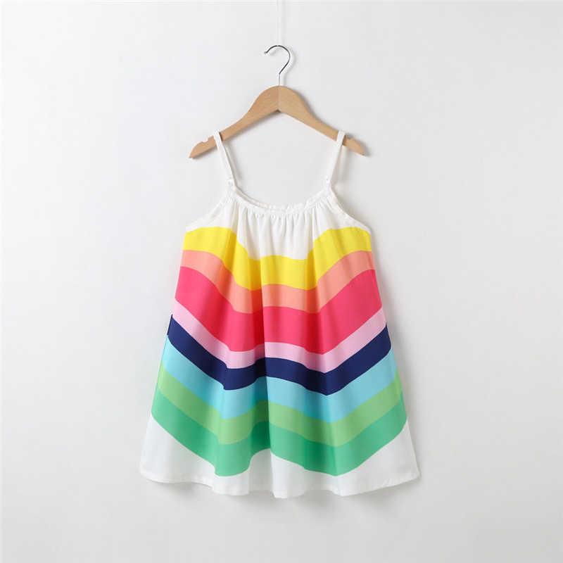 Yeni yürümeye başlayan bebek kız sevimli elbise yaz Strappy dökümlü bir çizgi elbiseler gökkuşağı prenses Bebe kız parti Shein Vestidos elbise 2019