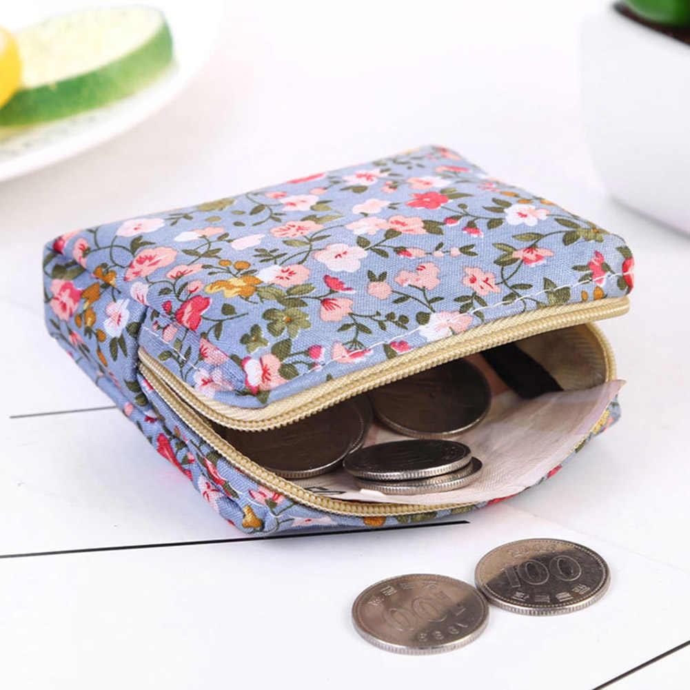 النساء محفظة نسائية للعملات المعدنية أزهار لطيفة الطباعة السيدات محفظة صغيرة جيب سماعة خط الحقيبة حامل بطاقة الائتمان أحمر الشفاه حقيبة فتاة هدية