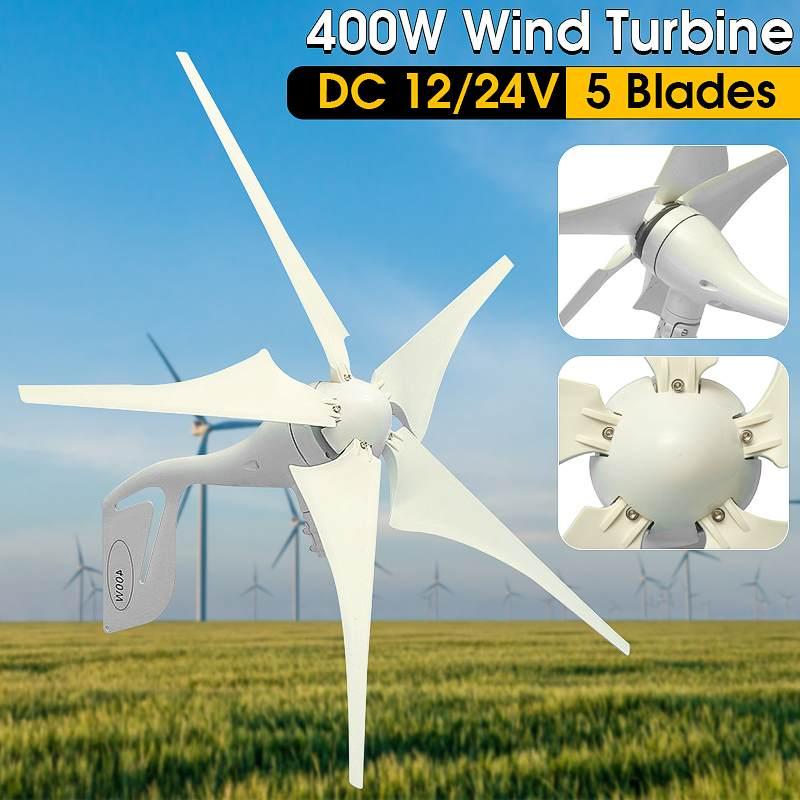 Éolienne 400 W éolienne générateur 5 lames + DC 12 V/24 V contrôleur de Charge étanche 300/600 W éolienne générateur