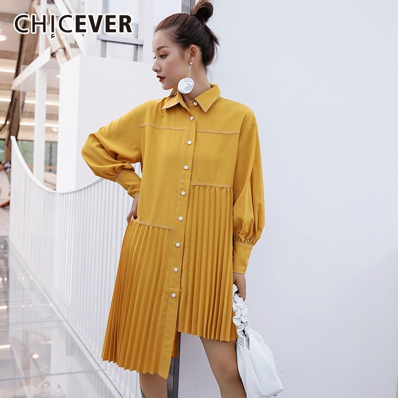 CHICEVER Women's Blouses Tops Female Lapel Lantern Sleeve Asymmetric Hem Yellow Pleated Blouse Korean Fashion Casual Clothes New