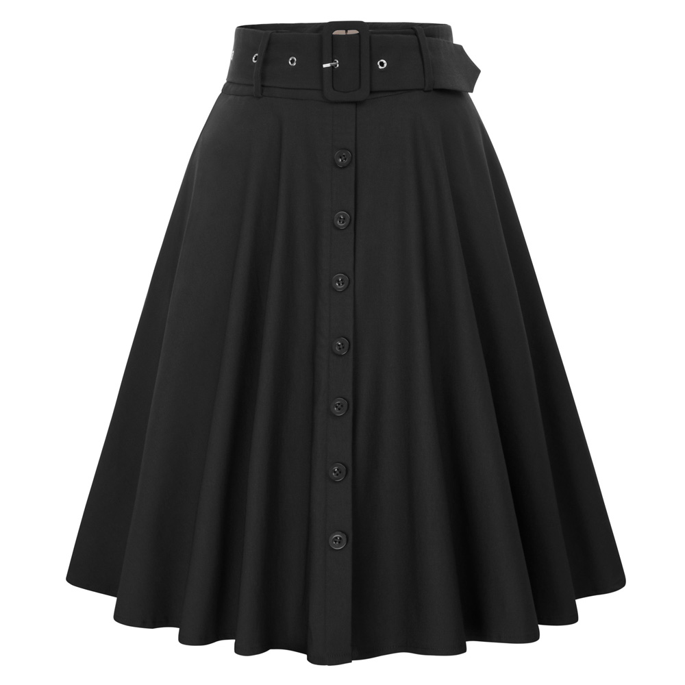 BP Women's Solid Color Buttons Decorated Flared A Line Skirt With Belt & Pockets