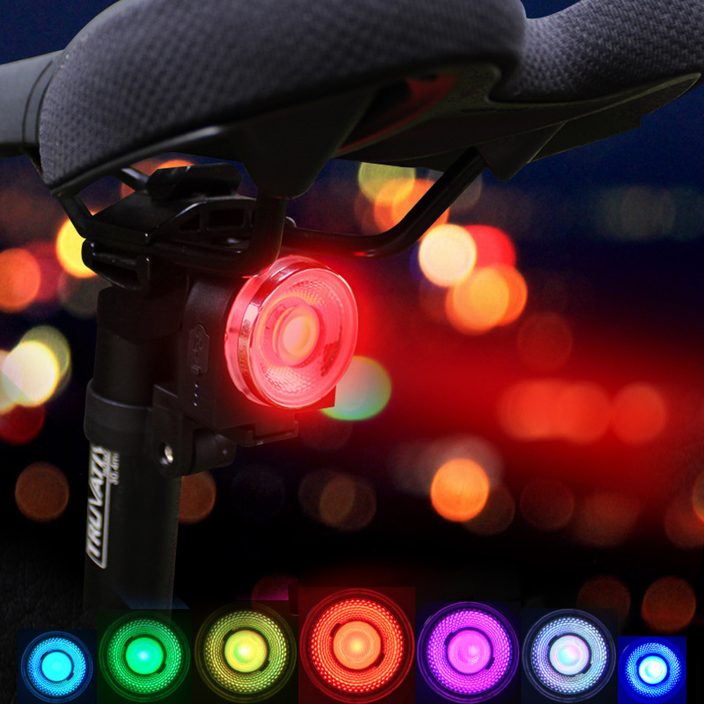 LED USB Rechargeable Tail Light Bicycle Cycling Rear Color Waterproof Warning