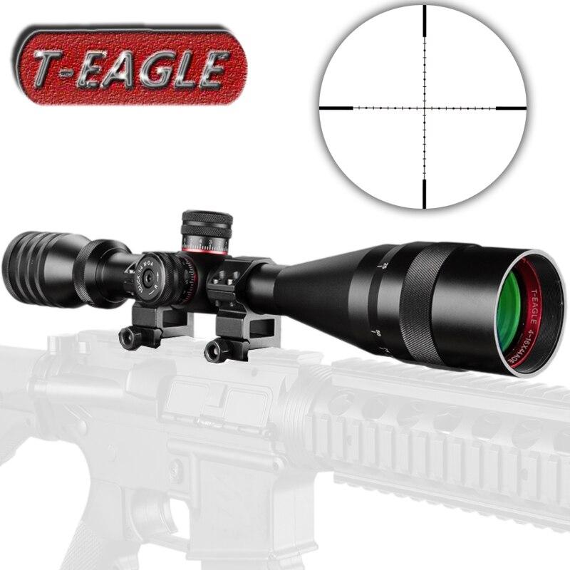 T-EAGLE 4-16X44 AOE lunette de chasse 1/2 Mil point réticule rouge vert illuminé tourelles verrouillage réinitialiser taille réelle portée de fusil