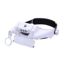 8100 s Luzes 3LED Velho Lendo lupa óculos de Alta Definição Reparo Artesanato  Grande-angular ampliação óculos capacete lupa 0a1242b64d