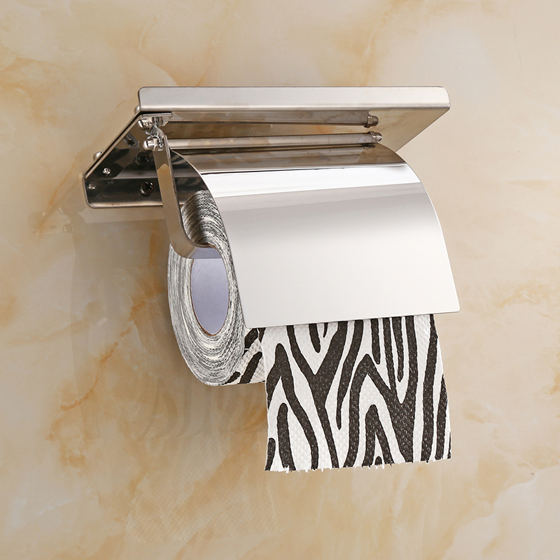 Wall Mount Toilet Paper Holder Bathroom 4 Color Fixture Stainless Steel Roll Paper Holders With Phone Shelf