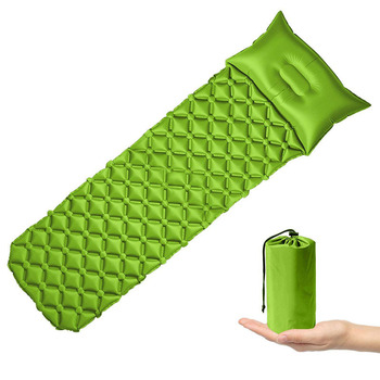 Inflatable Outdoors Camping Mat Pad Cushion Protable TPU Beach Sleeping Mattress Moisture-proof Inflation Pad Field  With Pillow